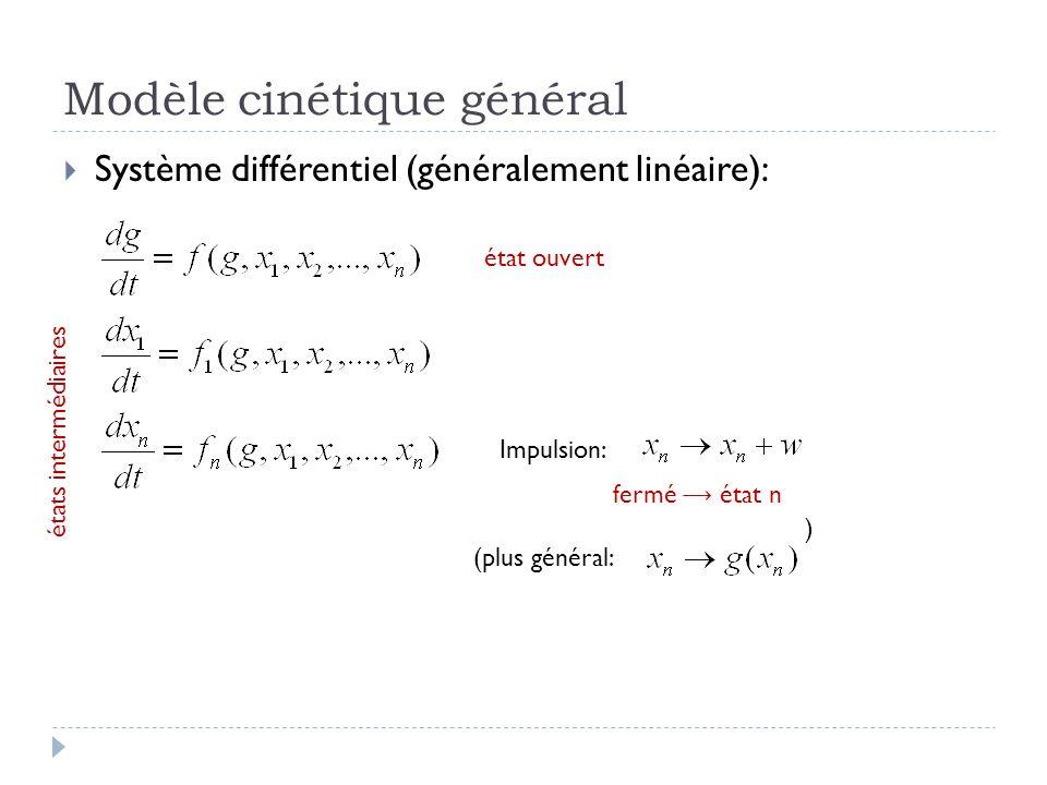 Modèle cinétique général Système différentiel (généralement linéaire): Impulsion: (plus général: ) état ouvert états intermédiaires fermé état n