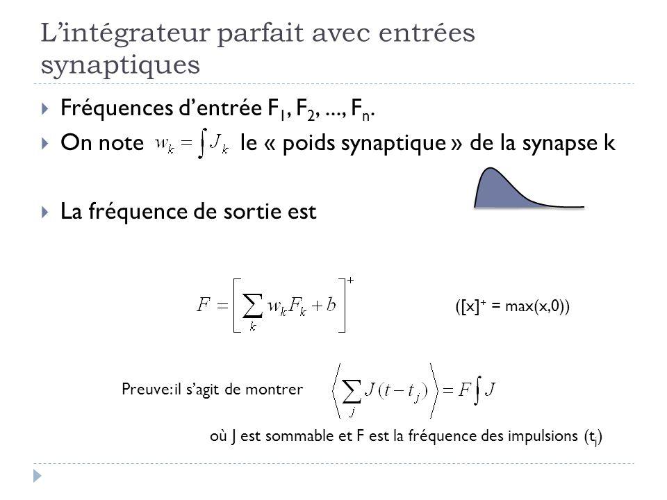 Lintégrateur parfait avec entrées synaptiques Fréquences dentrée F 1, F 2,..., F n. On note le « poids synaptique » de la synapse k La fréquence de so