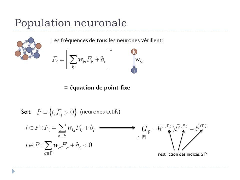 Population neuronale Les fréquences de tous les neurones vérifient: i k w ki = équation de point fixe Soit (neurones actifs) p=|P| restriction des indices à P