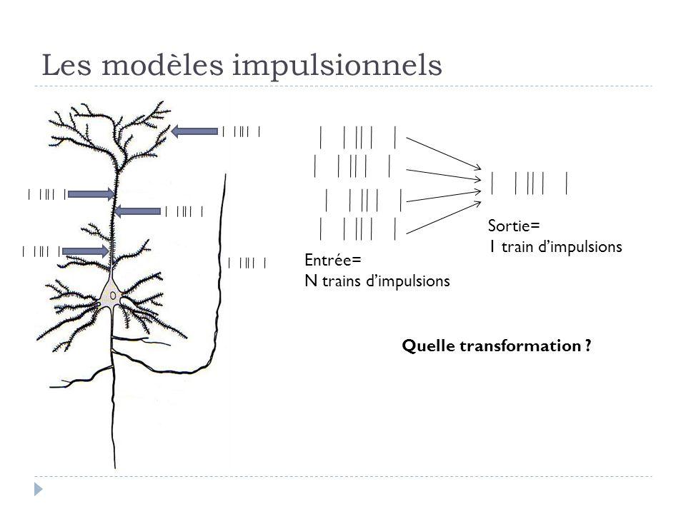 Les modèles impulsionnels Entrée= N trains dimpulsions Sortie= 1 train dimpulsions Quelle transformation ?