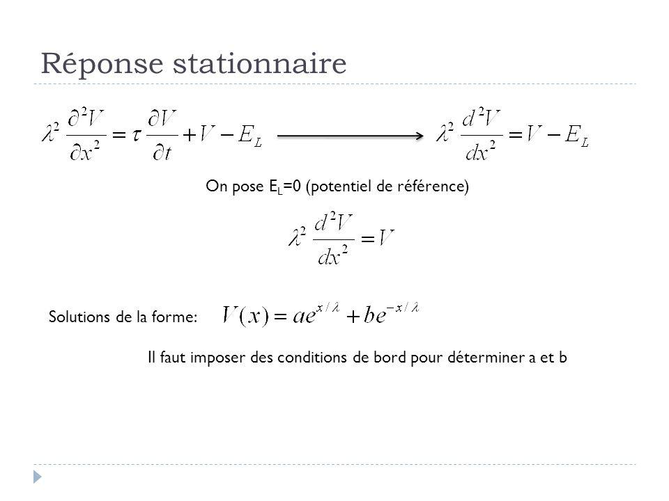 Réponse stationnaire On pose E L =0 (potentiel de référence) Solutions de la forme: Il faut imposer des conditions de bord pour déterminer a et b