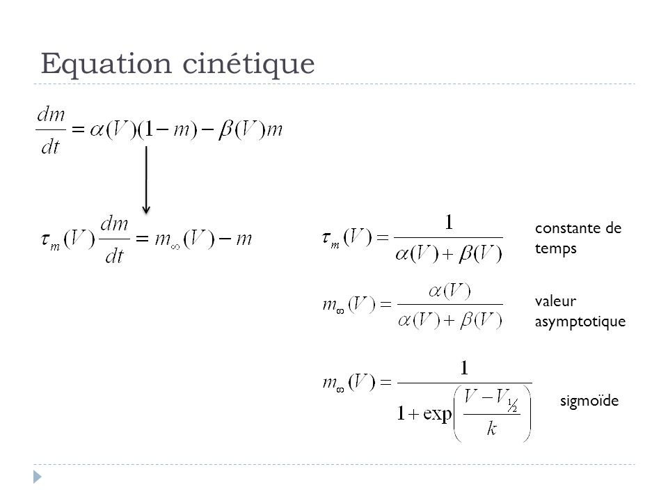 Equation cinétique constante de temps valeur asymptotique sigmoïde
