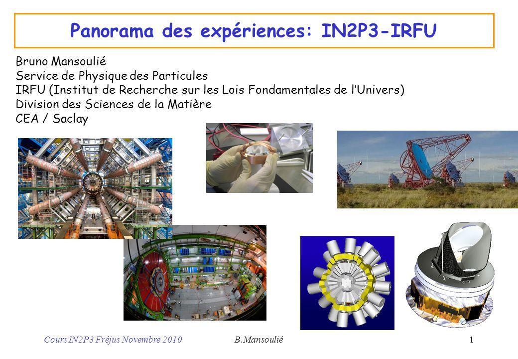 Cours IN2P3 Fréjus Novembre 2010B.Mansoulié2 IN2P3 et IRFU CNRS-IN2P3 : 21 labos –Particules, Nucléaire, Astroparticules –510 chercheurs CNRS, 385 enseignants-chercheurs, 1600 ITA CEA-IRFU (ex DAPNIA): 1 labo –Particules, Nucléaire, Astroparticules, Astrophysique –415 Ingénieurs et physiciens, 205 Techniciens Thématiques –Particules: constituants et interactions élémentaires ( petit) –Nucléaire: Noyaux atomiques, matière nucléaire ( complexe) –Astrophysique: Corps célestes, univers ( grand) Interfaces (nombreuses!) –Part /Nucl: Structure du proton, quarks et gluons, neutrinos réacteurs… –Part / Astro : Cosmologie, matière noire, observatoires … –Nucl /Astro : Nucléosynthèse, évolution étoiles…