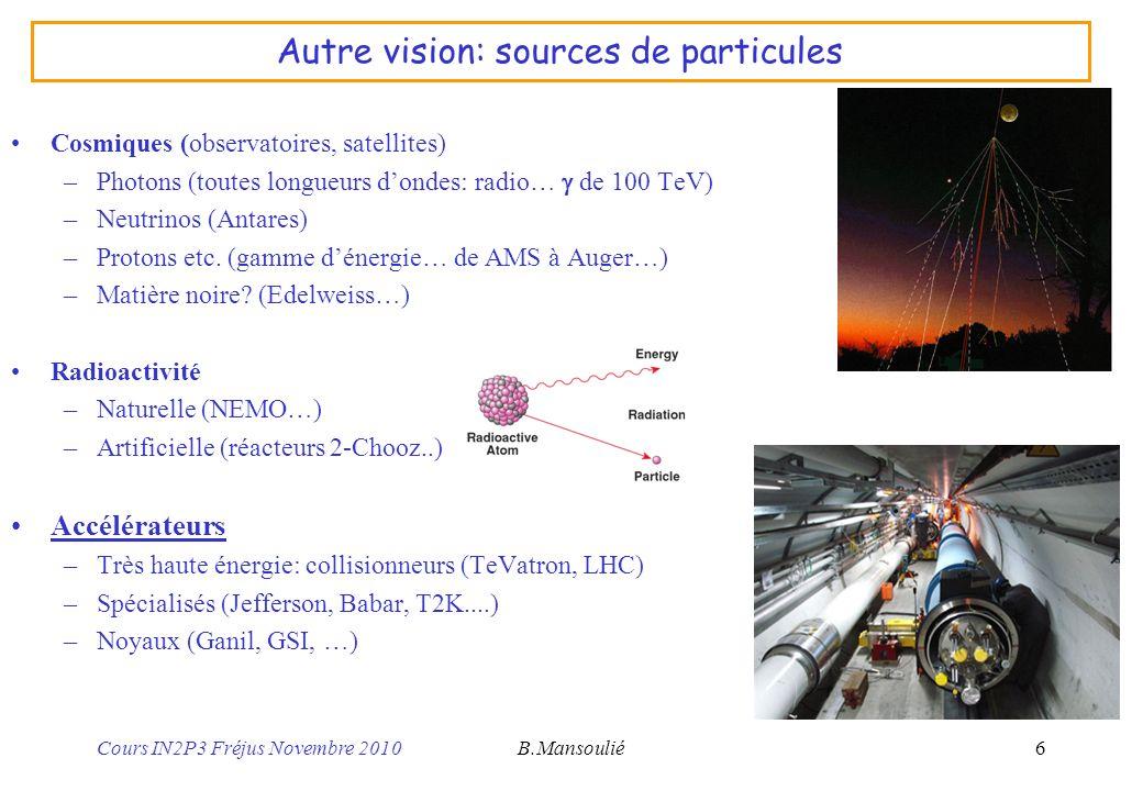 Cours IN2P3 Fréjus Novembre 2010B.Mansoulié17 Astrophysique (IRFU) Cosmologie (voir astroparticules) –Origine et évolution de lunivers Formation et évolution des galaxies –Quand et comment se sont formées les grandes structures.