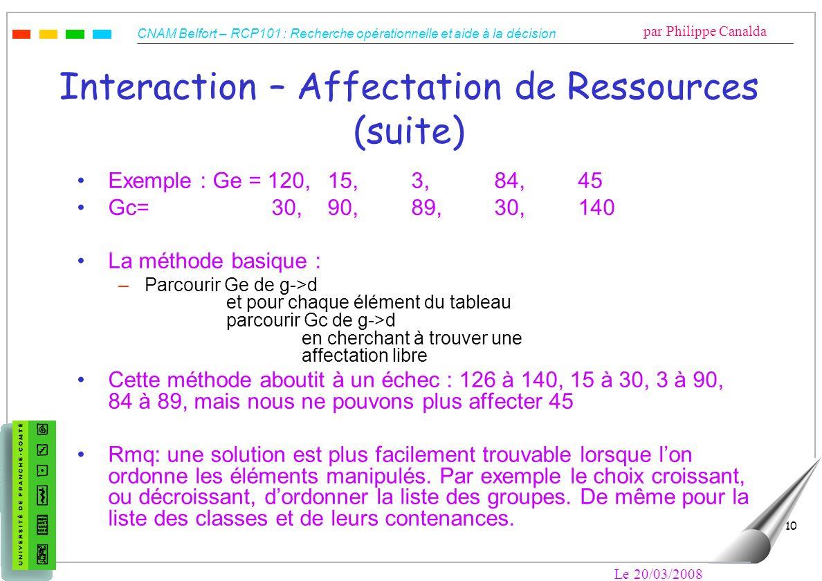 CNAM Belfort – RCP101 : Recherche opérationnelle et aide à la décision par Philippe Canalda Le 20/03/2008 10 Interaction – Affectation de Ressources (