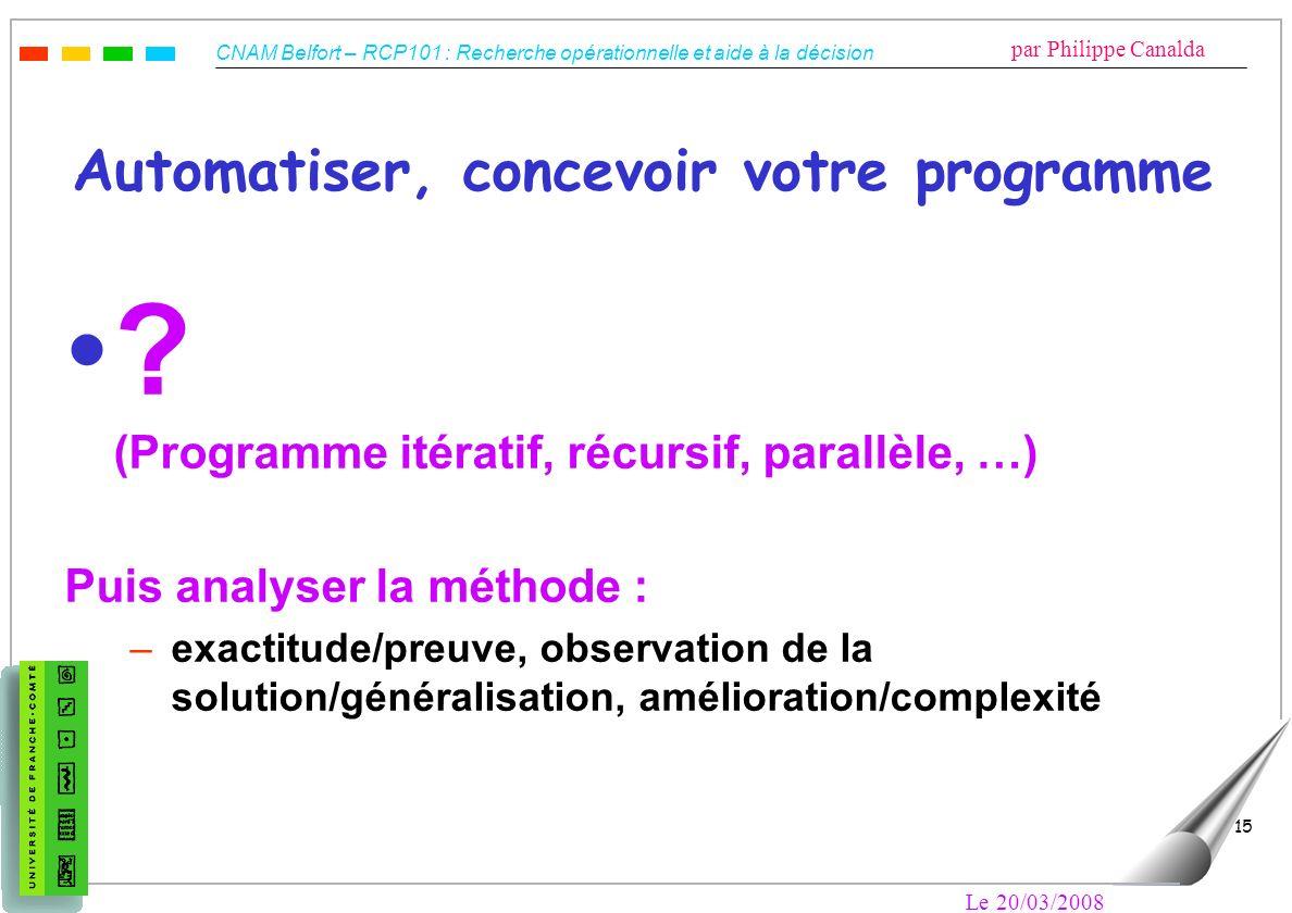 CNAM Belfort – RCP101 : Recherche opérationnelle et aide à la décision par Philippe Canalda Le 20/03/2008 15 Automatiser, concevoir votre programme ?