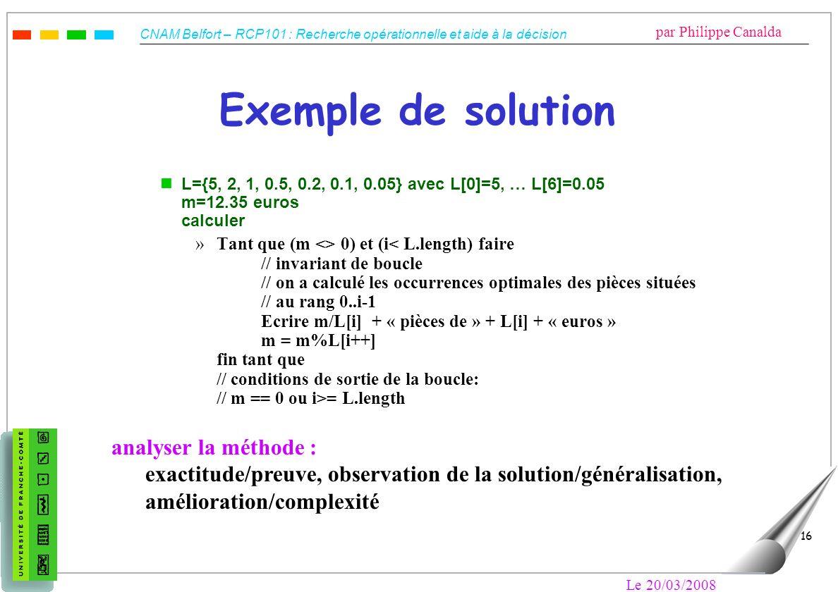 CNAM Belfort – RCP101 : Recherche opérationnelle et aide à la décision par Philippe Canalda Le 20/03/2008 16 Exemple de solution nL={5, 2, 1, 0.5, 0.2