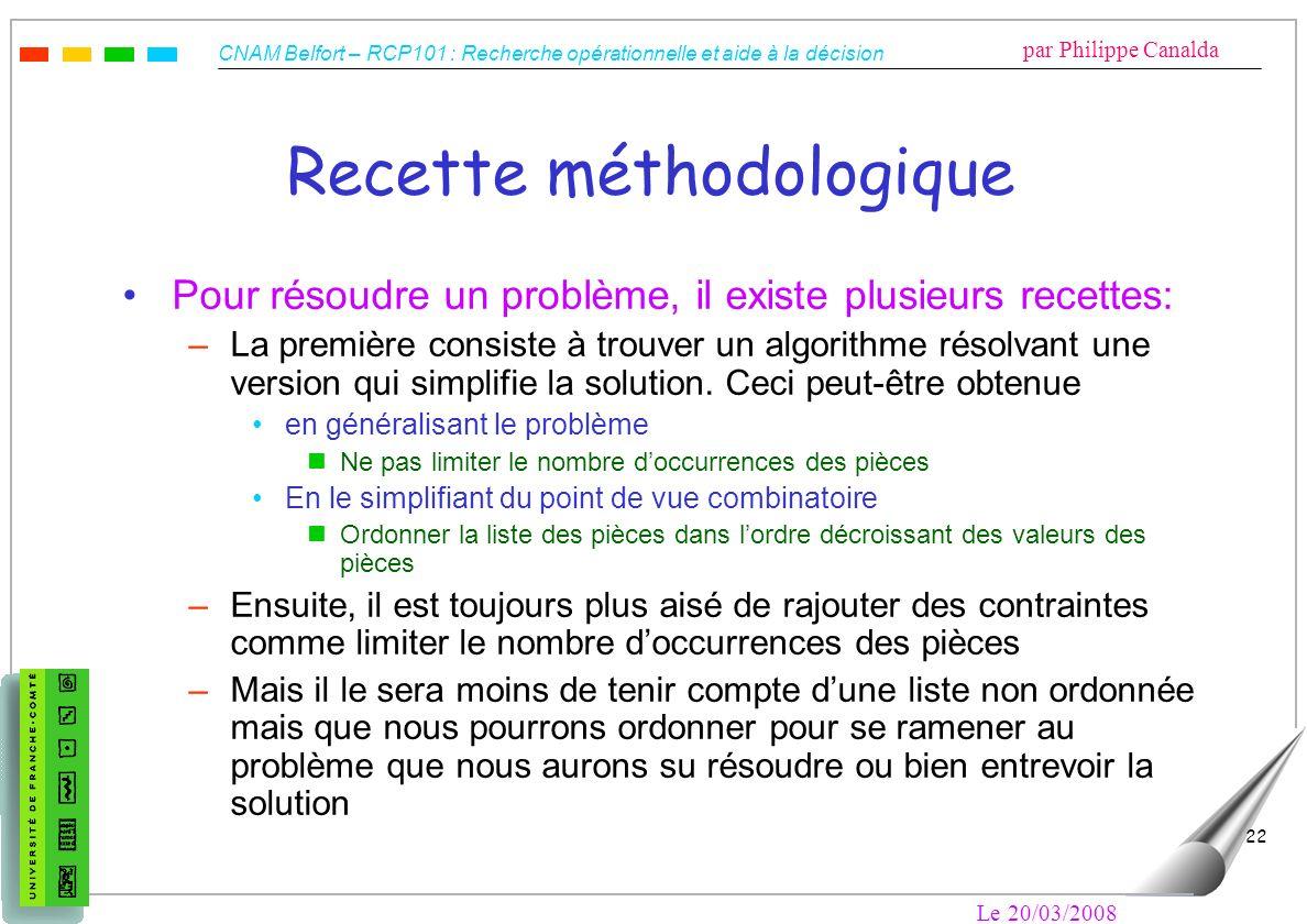 CNAM Belfort – RCP101 : Recherche opérationnelle et aide à la décision par Philippe Canalda Le 20/03/2008 22 Recette méthodologique Pour résoudre un p