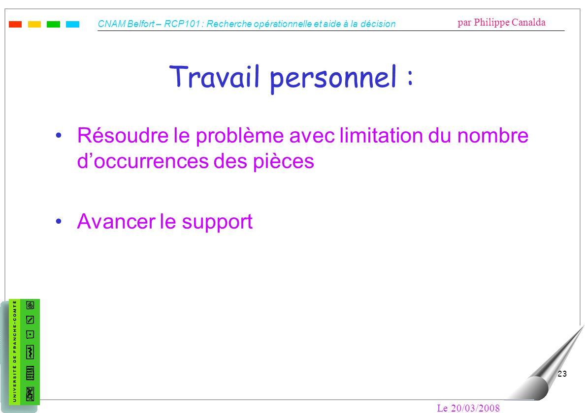 CNAM Belfort – RCP101 : Recherche opérationnelle et aide à la décision par Philippe Canalda Le 20/03/2008 23 Travail personnel : Résoudre le problème