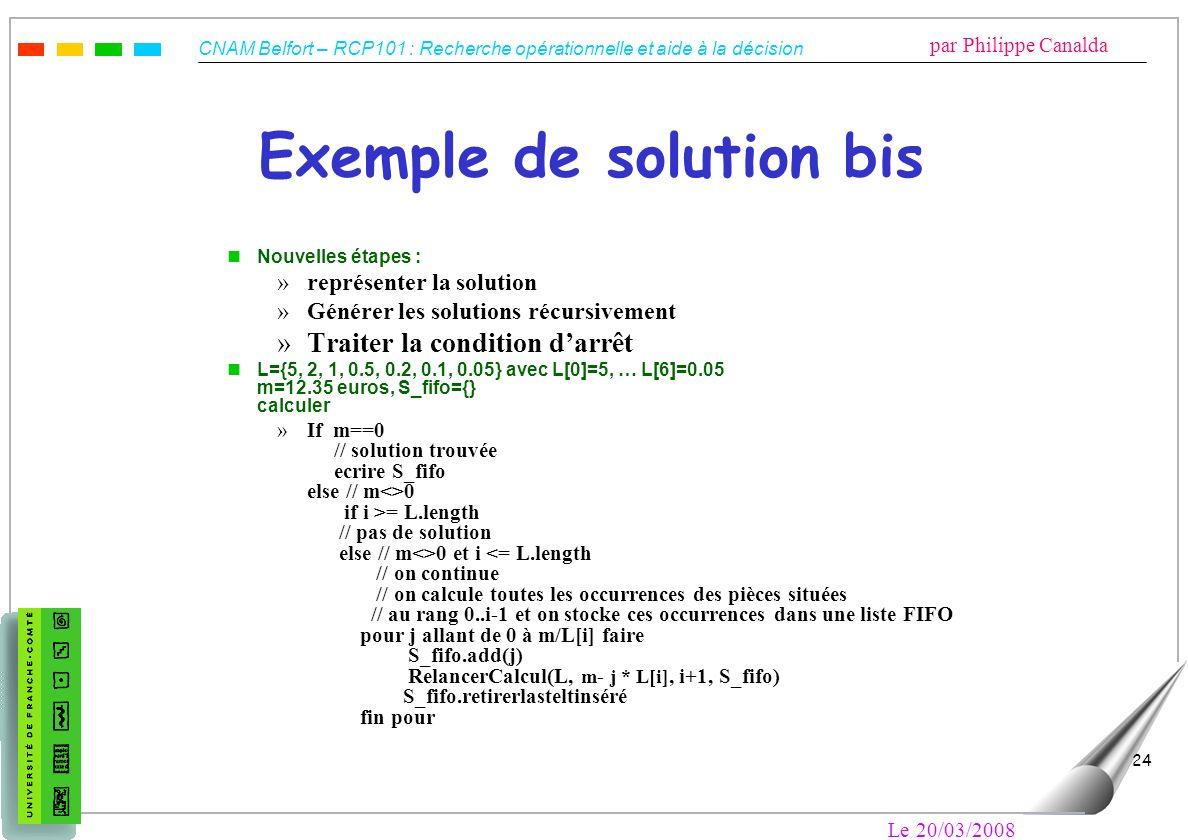 CNAM Belfort – RCP101 : Recherche opérationnelle et aide à la décision par Philippe Canalda Le 20/03/2008 24 Exemple de solution bis nNouvelles étapes
