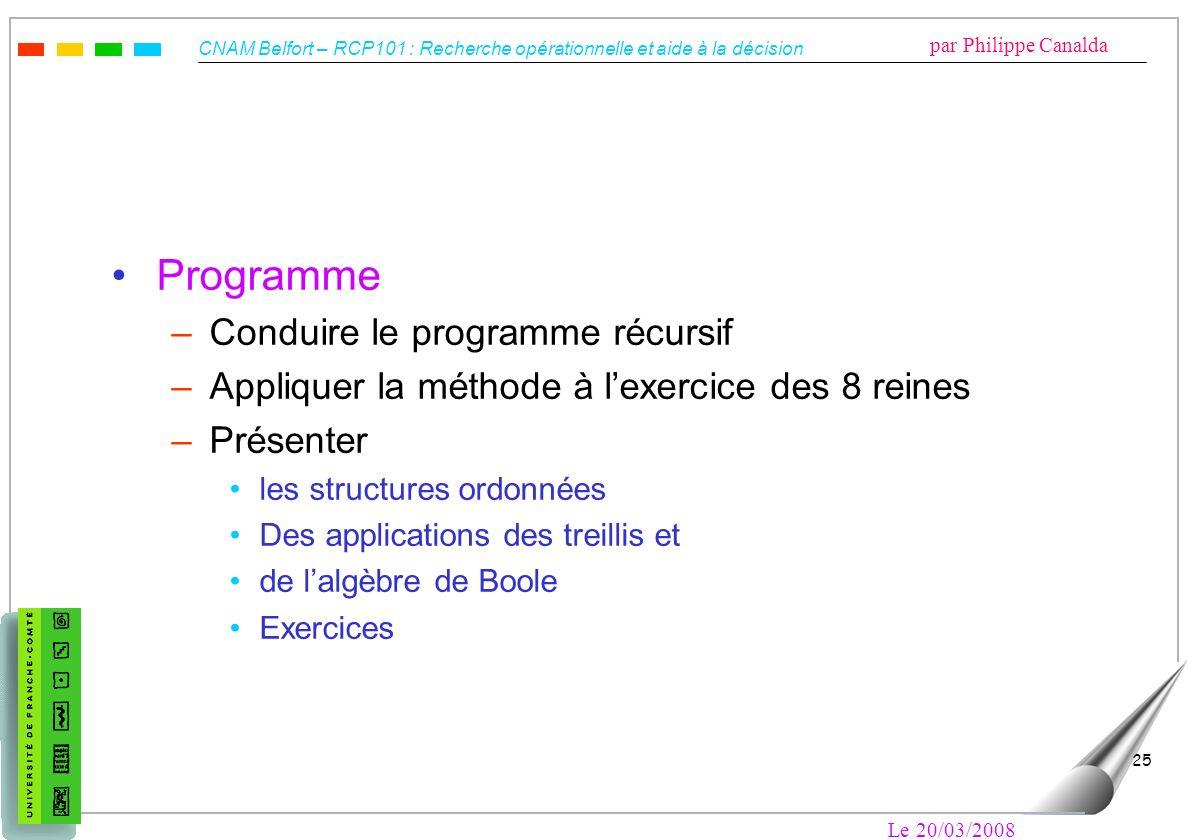 CNAM Belfort – RCP101 : Recherche opérationnelle et aide à la décision par Philippe Canalda Le 20/03/2008 25 Programme –Conduire le programme récursif
