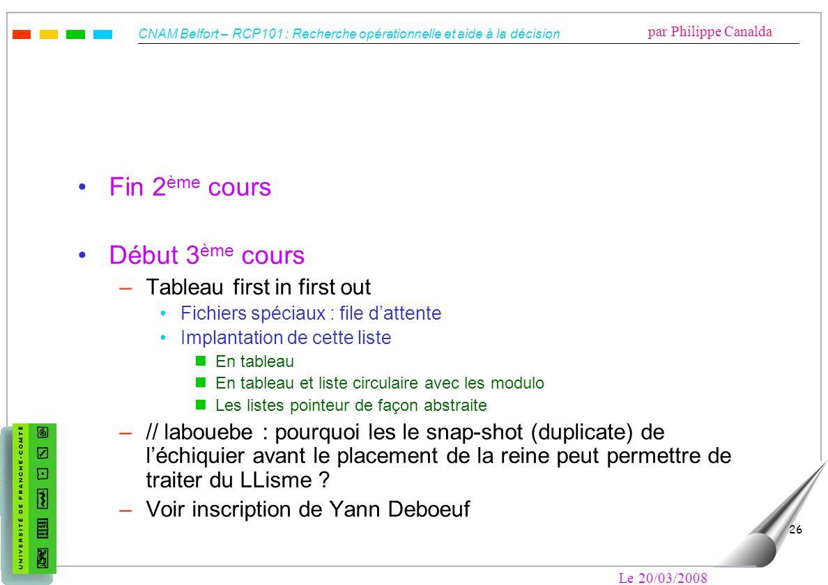 CNAM Belfort – RCP101 : Recherche opérationnelle et aide à la décision par Philippe Canalda Le 20/03/2008 26 Fin 2 ème cours Début 3 ème cours –Tablea
