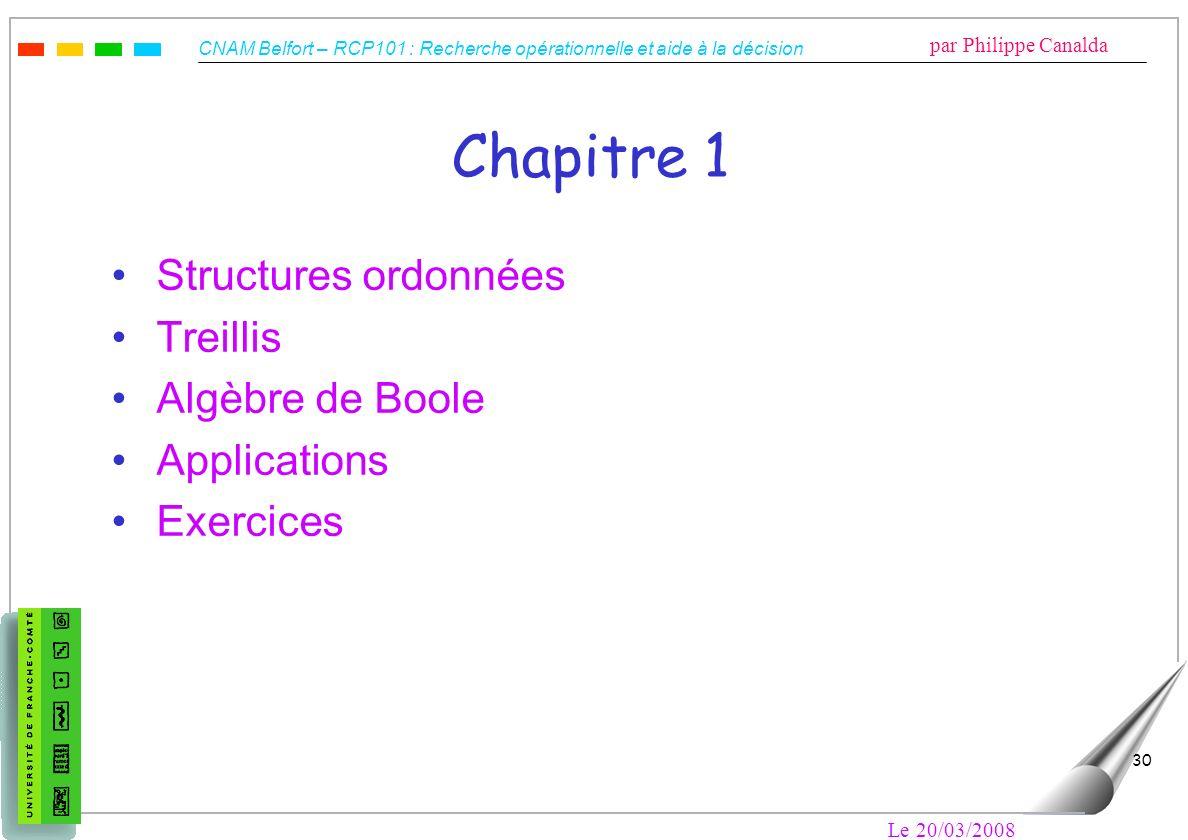 CNAM Belfort – RCP101 : Recherche opérationnelle et aide à la décision par Philippe Canalda Le 20/03/2008 30 Chapitre 1 Structures ordonnées Treillis