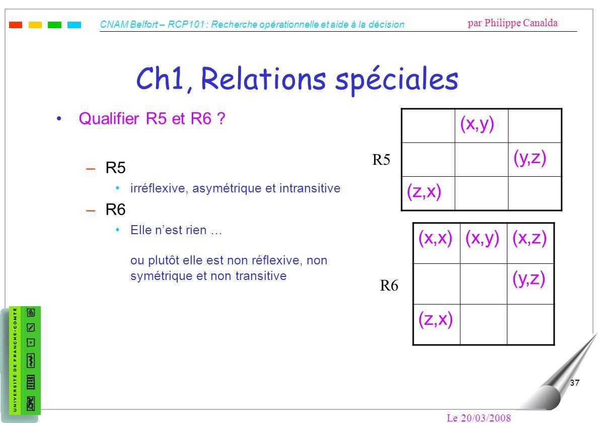 CNAM Belfort – RCP101 : Recherche opérationnelle et aide à la décision par Philippe Canalda Le 20/03/2008 37 Ch1, Relations spéciales Qualifier R5 et
