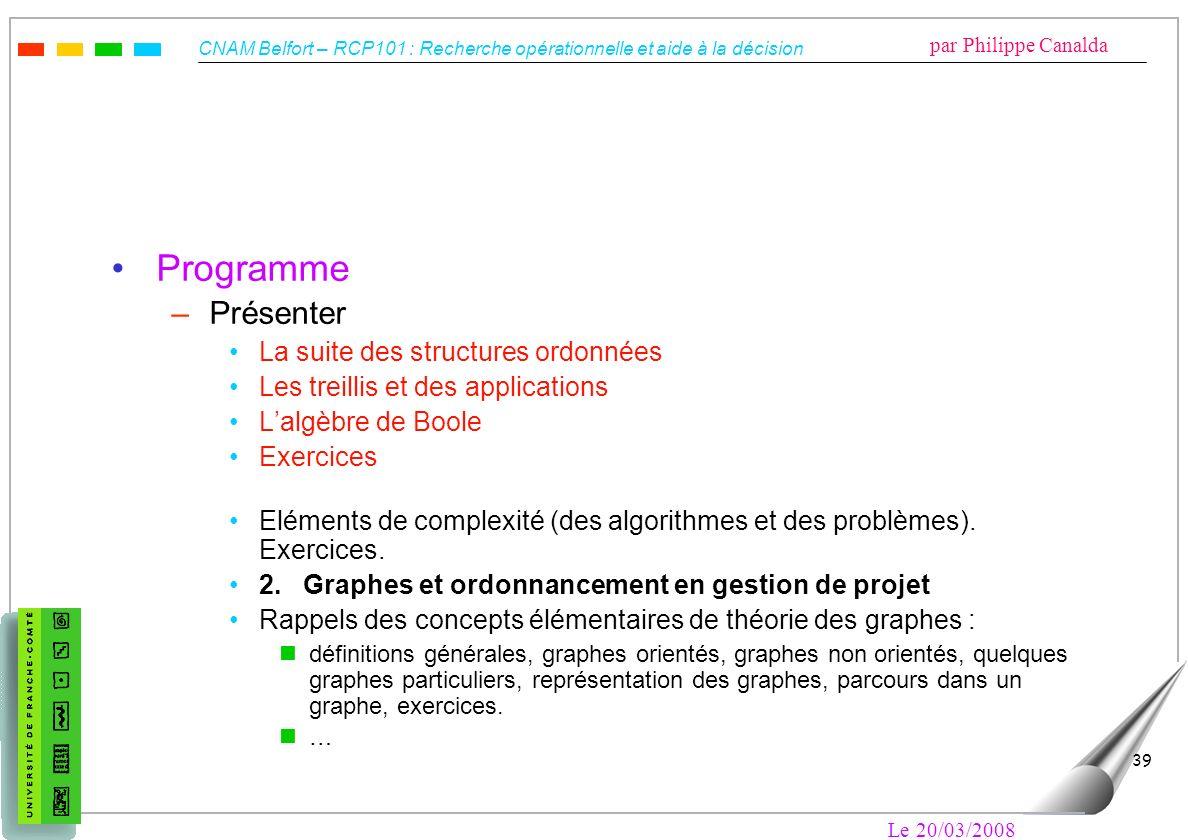 CNAM Belfort – RCP101 : Recherche opérationnelle et aide à la décision par Philippe Canalda Le 20/03/2008 39 Programme –Présenter La suite des structu