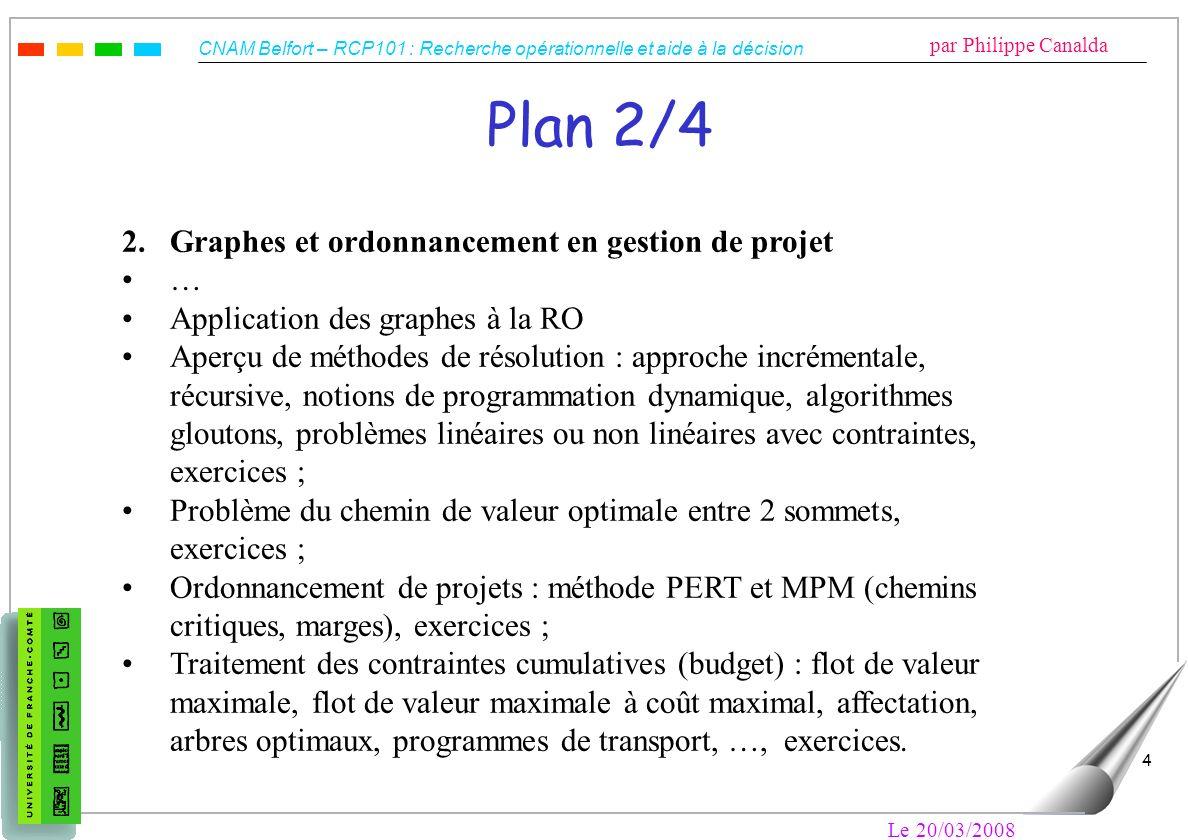 CNAM Belfort – RCP101 : Recherche opérationnelle et aide à la décision par Philippe Canalda Le 20/03/2008 4 Plan 2/4 2. Graphes et ordonnancement en g