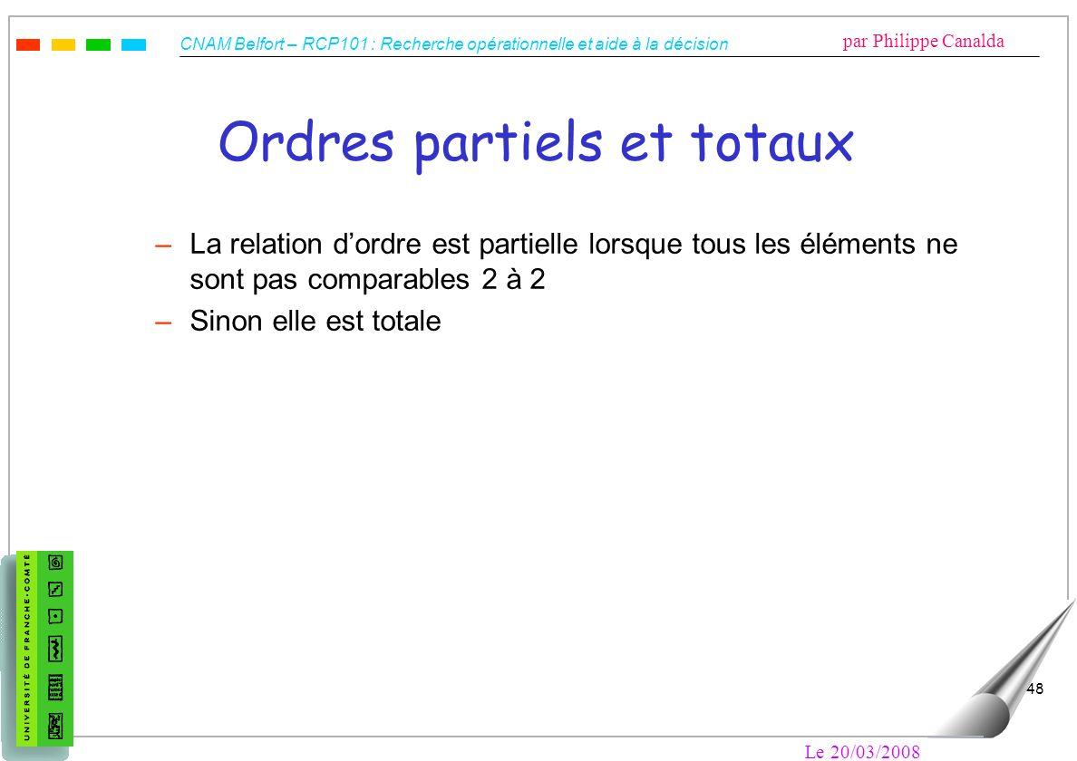 CNAM Belfort – RCP101 : Recherche opérationnelle et aide à la décision par Philippe Canalda Le 20/03/2008 48 Ordres partiels et totaux –La relation do