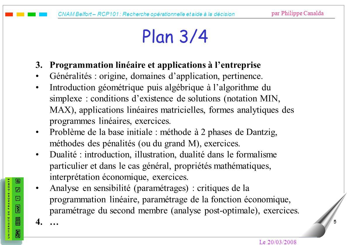 CNAM Belfort – RCP101 : Recherche opérationnelle et aide à la décision par Philippe Canalda Le 20/03/2008 5 Plan 3/4 3. Programmation linéaire et appl