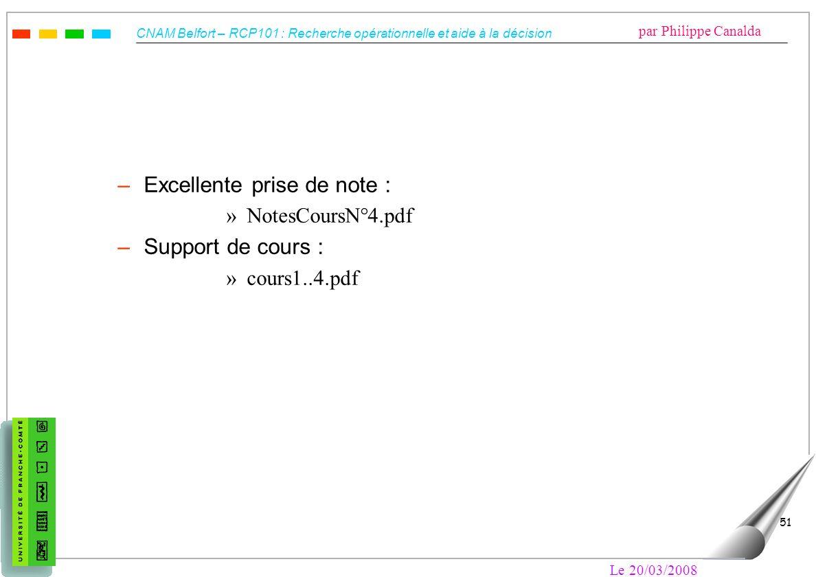 CNAM Belfort – RCP101 : Recherche opérationnelle et aide à la décision par Philippe Canalda Le 20/03/2008 51 –Excellente prise de note : »NotesCoursN°