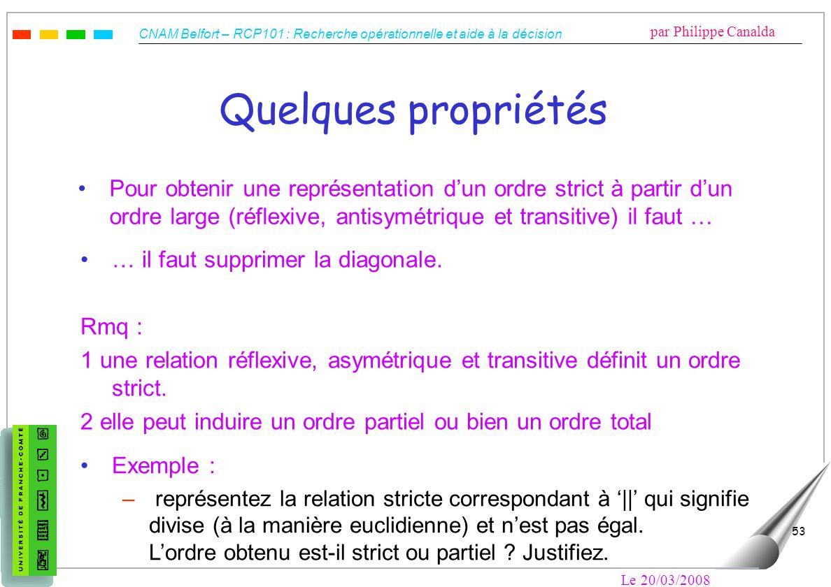 CNAM Belfort – RCP101 : Recherche opérationnelle et aide à la décision par Philippe Canalda Le 20/03/2008 53 Quelques propriétés Pour obtenir une repr
