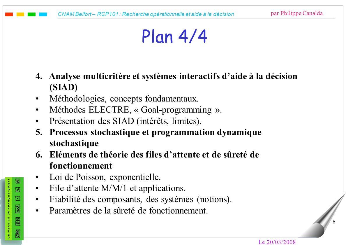 CNAM Belfort – RCP101 : Recherche opérationnelle et aide à la décision par Philippe Canalda Le 20/03/2008 6 Plan 4/4 4. Analyse multicritère et systèm