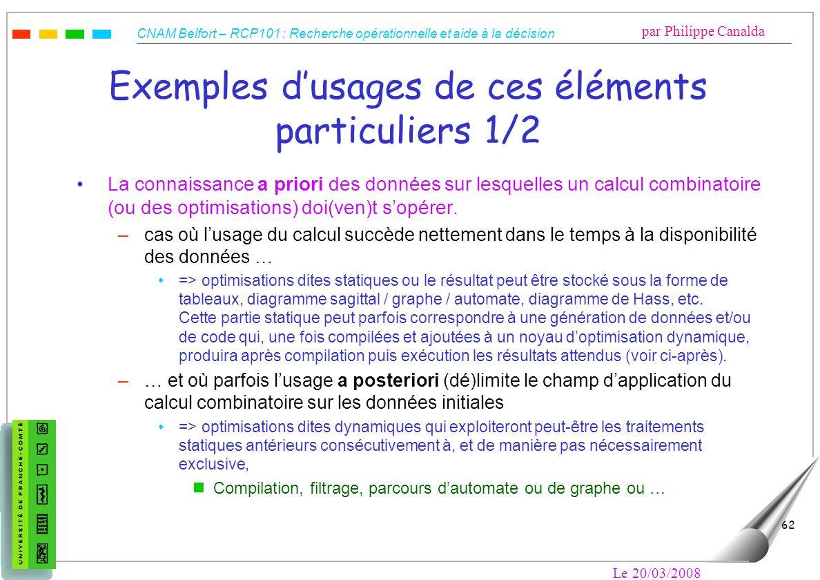 CNAM Belfort – RCP101 : Recherche opérationnelle et aide à la décision par Philippe Canalda Le 20/03/2008 62 Exemples dusages de ces éléments particul