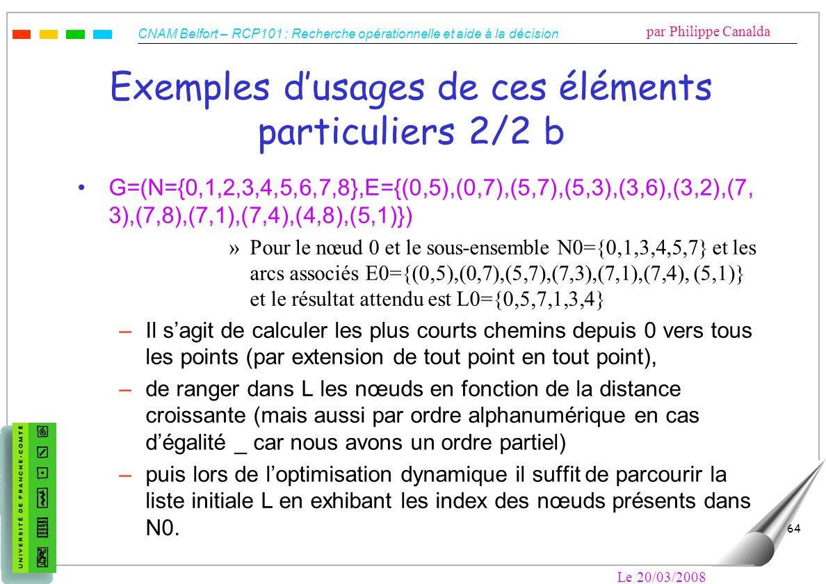 CNAM Belfort – RCP101 : Recherche opérationnelle et aide à la décision par Philippe Canalda Le 20/03/2008 64 Exemples dusages de ces éléments particul