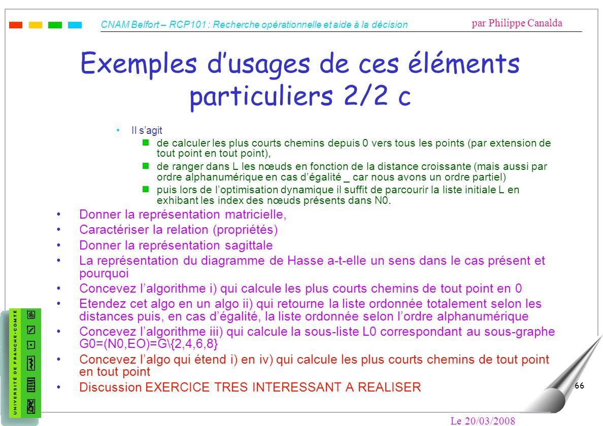 CNAM Belfort – RCP101 : Recherche opérationnelle et aide à la décision par Philippe Canalda Le 20/03/2008 66 Exemples dusages de ces éléments particul