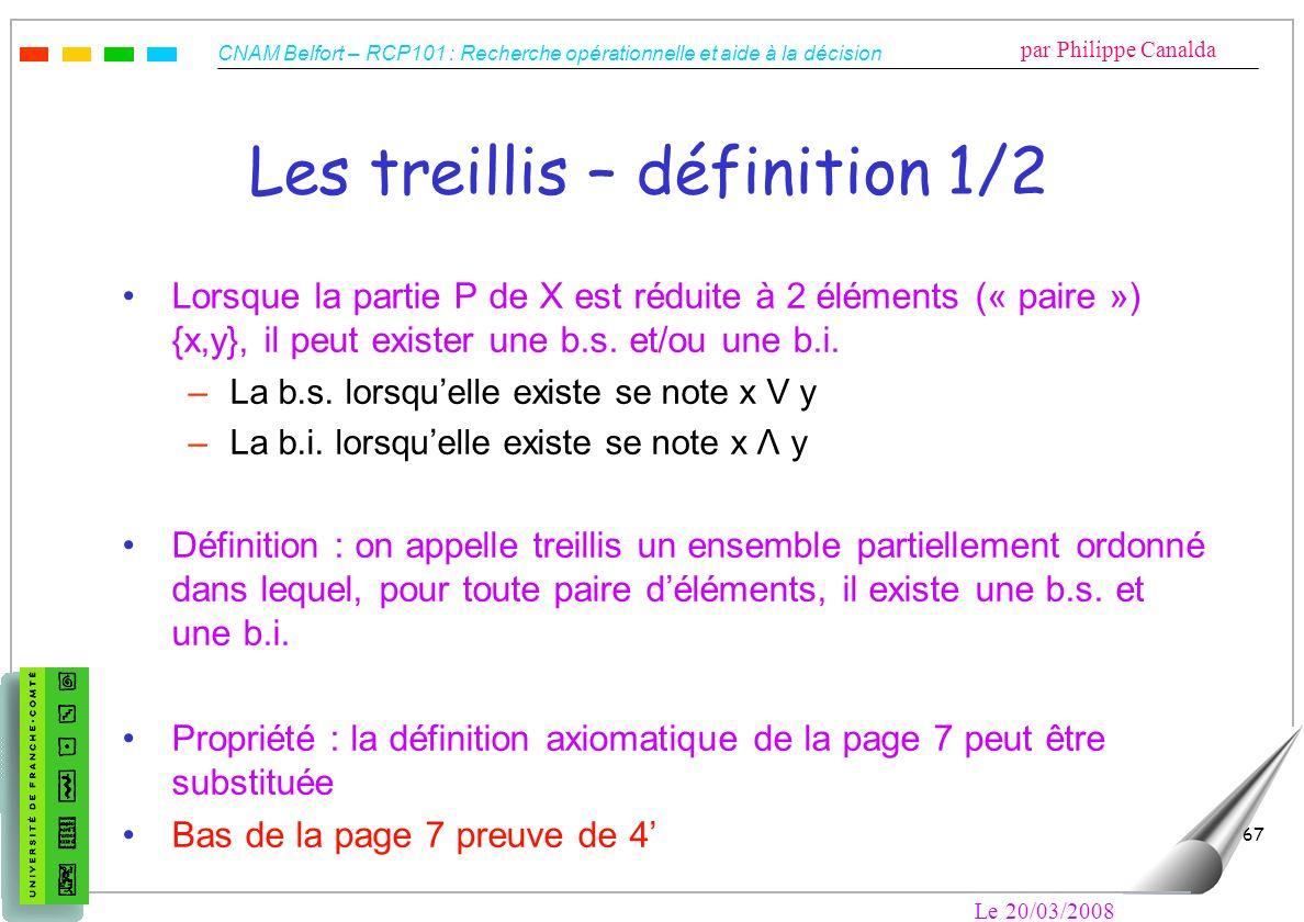 CNAM Belfort – RCP101 : Recherche opérationnelle et aide à la décision par Philippe Canalda Le 20/03/2008 67 Les treillis – définition 1/2 Lorsque la