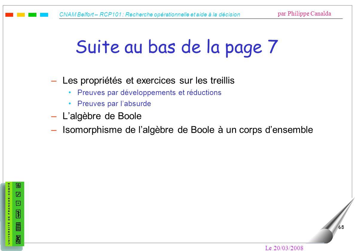 CNAM Belfort – RCP101 : Recherche opérationnelle et aide à la décision par Philippe Canalda Le 20/03/2008 68 Suite au bas de la page 7 –Les propriétés
