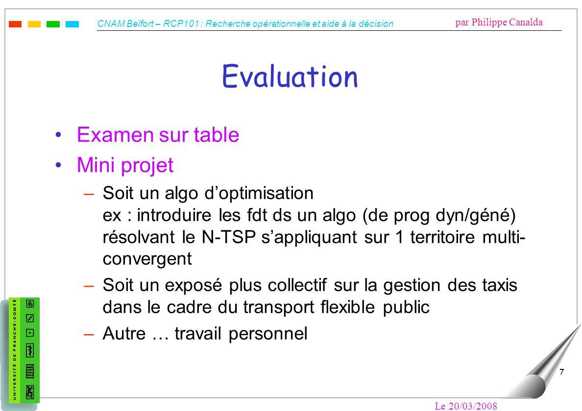 CNAM Belfort – RCP101 : Recherche opérationnelle et aide à la décision par Philippe Canalda Le 20/03/2008 7 Evaluation Examen sur table Mini projet –S
