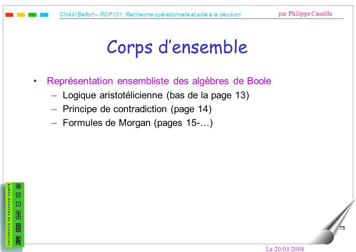 CNAM Belfort – RCP101 : Recherche opérationnelle et aide à la décision par Philippe Canalda Le 20/03/2008 75 Corps densemble Représentation ensemblist