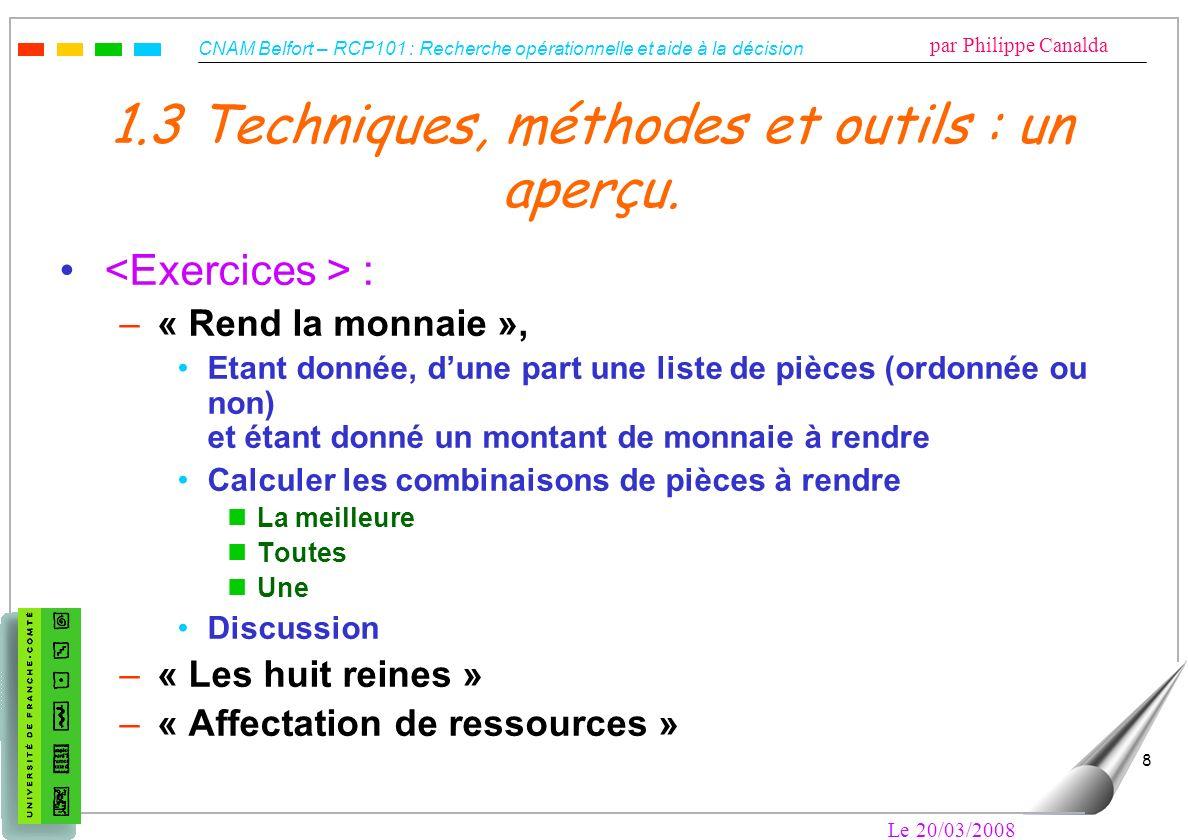 CNAM Belfort – RCP101 : Recherche opérationnelle et aide à la décision par Philippe Canalda Le 20/03/2008 8 1.3 Techniques, méthodes et outils : un ap