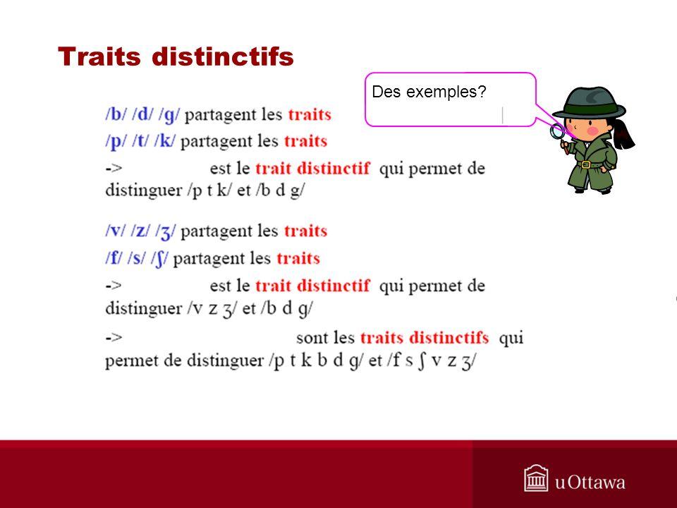 Traits distinctifs Des exemples?
