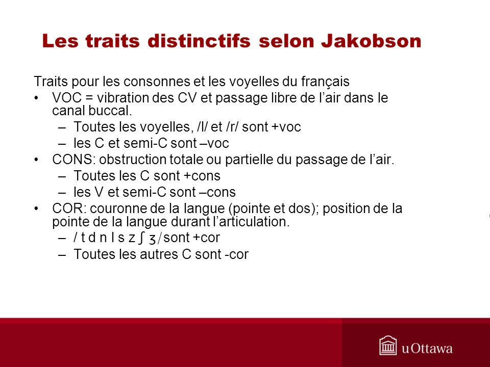 Traits pour les consonnes et les voyelles du français VOC = vibration des CV et passage libre de lair dans le canal buccal.