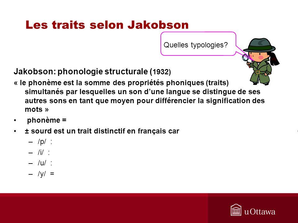 Les traits selon Jakobson Jakobson: phonologie structurale ( 1932) « le phonème est la somme des propriétés phoniques (traits) simultanés par lesquelles un son dune langue se distingue de ses autres sons en tant que moyen pour différencier la signification des mots » phonème = ± sourd est un trait distinctif en français car –/p/ : –/i/ : –/u/ : –/y/ = Quelles typologies?