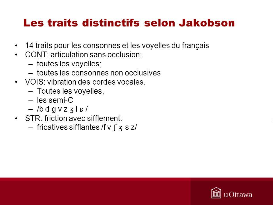 14 traits pour les consonnes et les voyelles du français CONT: articulation sans occlusion: –toutes les voyelles; –toutes les consonnes non occlusives VOIS: vibration des cordes vocales.