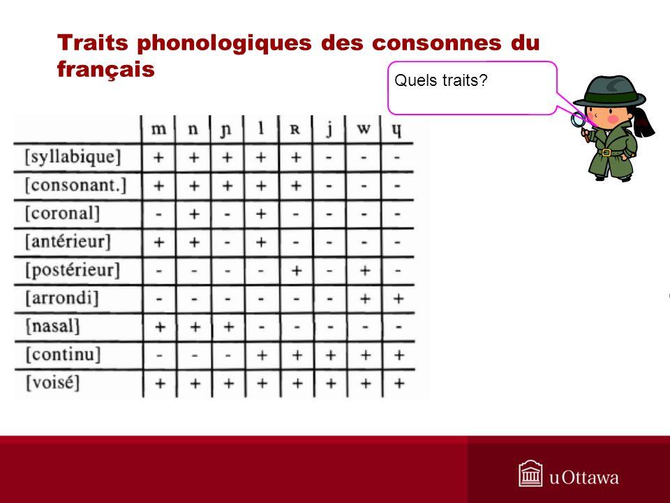 Traits phonologiques des consonnes du français Quels traits?