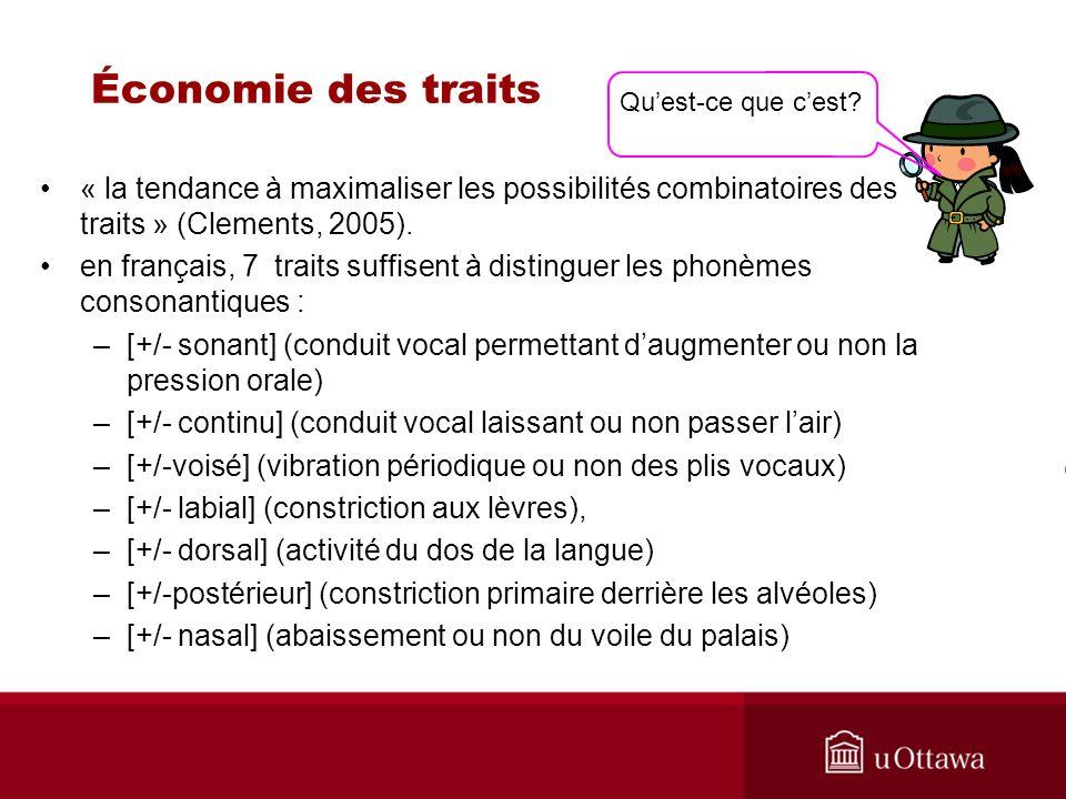 Économie des traits « la tendance à maximaliser les possibilités combinatoires des traits » (Clements, 2005).