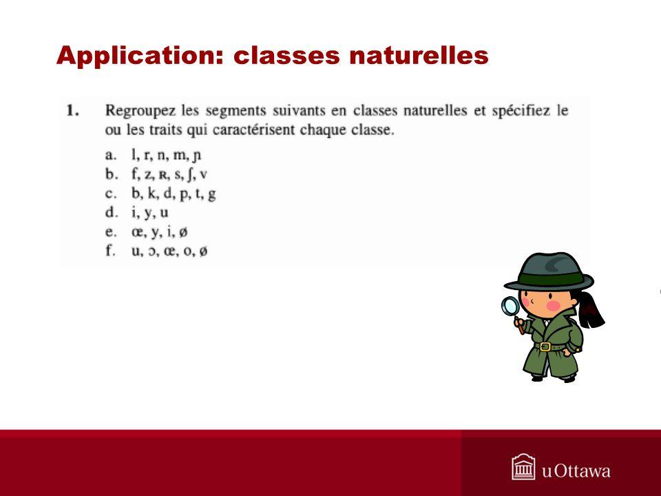 Application: classes naturelles