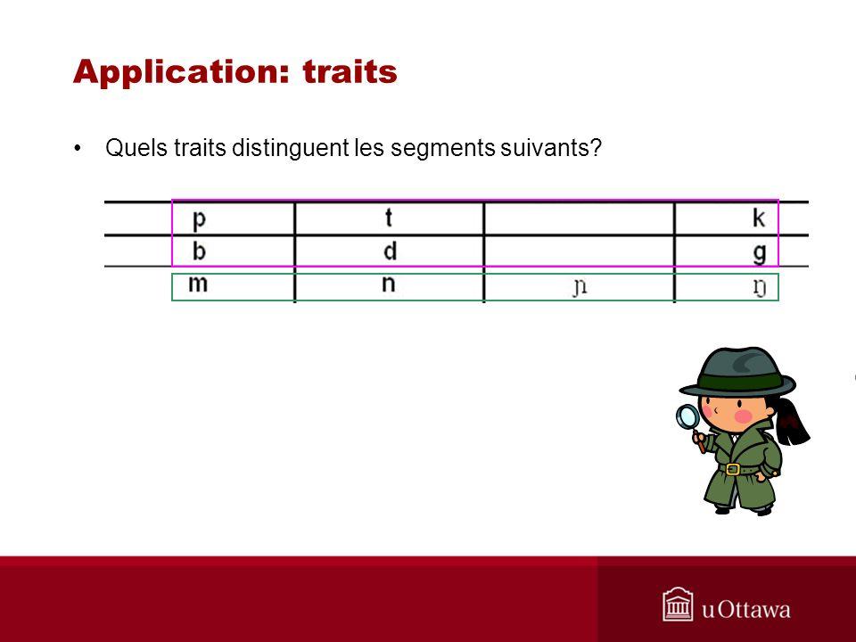 Application: traits Quels traits distinguent les segments suivants?