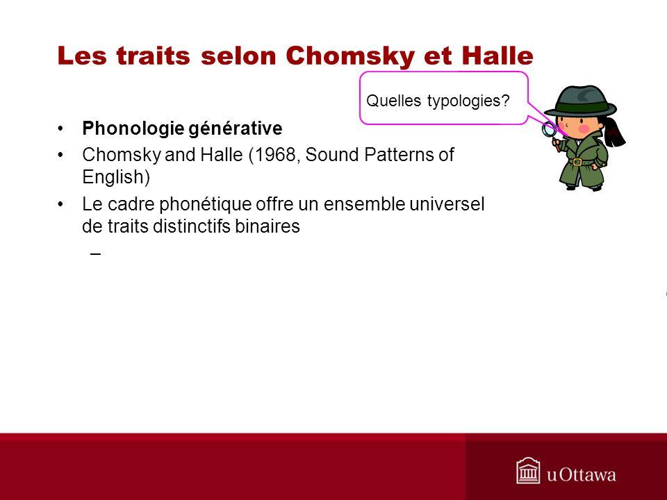Les traits selon Chomsky et Halle Phonologie générative Chomsky and Halle (1968, Sound Patterns of English) Le cadre phonétique offre un ensemble universel de traits distinctifs binaires – Quelles typologies?