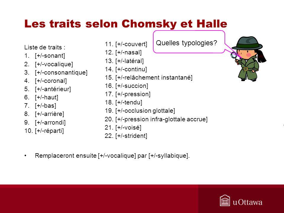 Les traits selon Chomsky et Halle Liste de traits : 1.[+/-sonant] 2.[+/-vocalique] 3.[+/-consonantique] 4.[+/-coronal] 5.[+/-antérieur] 6.[+/-haut] 7.[+/-bas] 8.[+/-arrière] 9.[+/-arrondi] 10.[+/-réparti] Remplaceront ensuite [+/-vocalique] par [+/-syllabique].