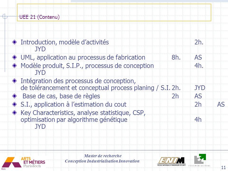 Master de recherche Conception Industrialisation Innovation 11 UEE 21 (Contenu) Introduction, modèle dactivités2h. JYD UML, application au processus d
