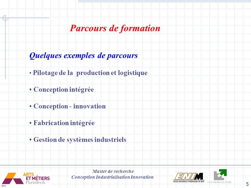 Master de recherche Conception Industrialisation Innovation 6 6 Modules de formation (25h par module) Modules optionnelles du parcours personnalisés, choisir 4 modules parmi les suivants UEE21:Méthodes et outils de l ingénierie intégrée (A.