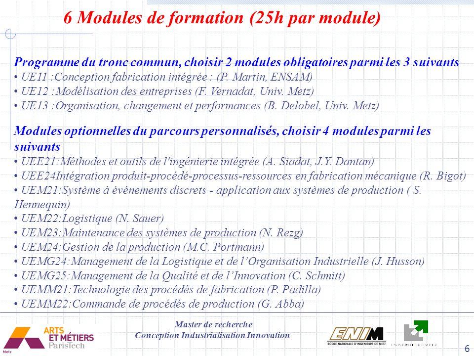 Master de recherche Conception Industrialisation Innovation 6 6 Modules de formation (25h par module) Modules optionnelles du parcours personnalisés,