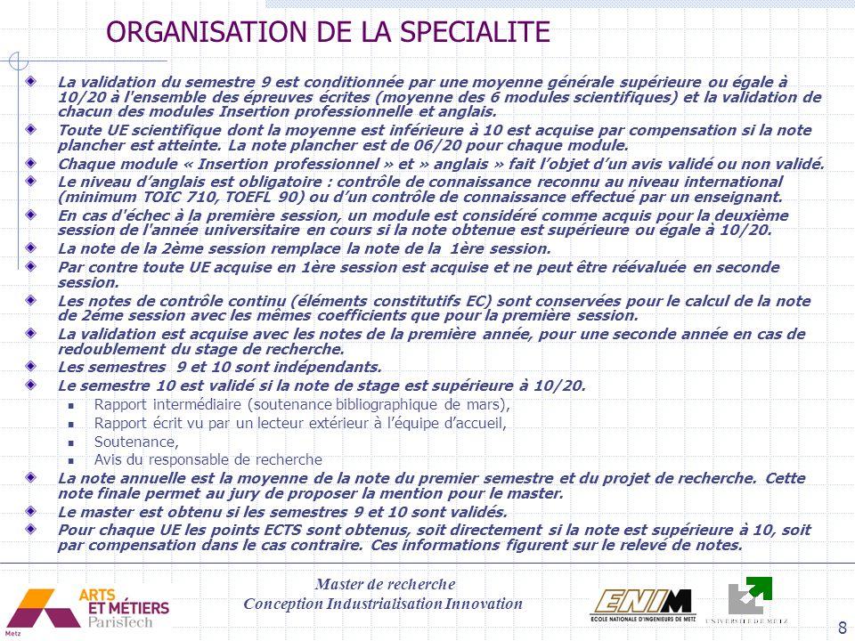 Master de recherche Conception Industrialisation Innovation 9 UE11: CONCEPTION FABRICATION INTEGREE EN PRODUCTION MECANIQUE ( P.