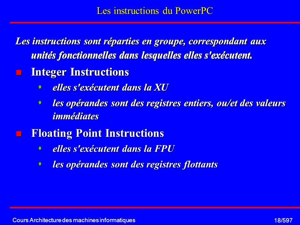 Cours Architecture des machines informatiques 18/597 Les instructions du PowerPC Les instructions sont réparties en groupe, correspondant aux unités fonctionnelles dans lesquelles elles s exécutent.