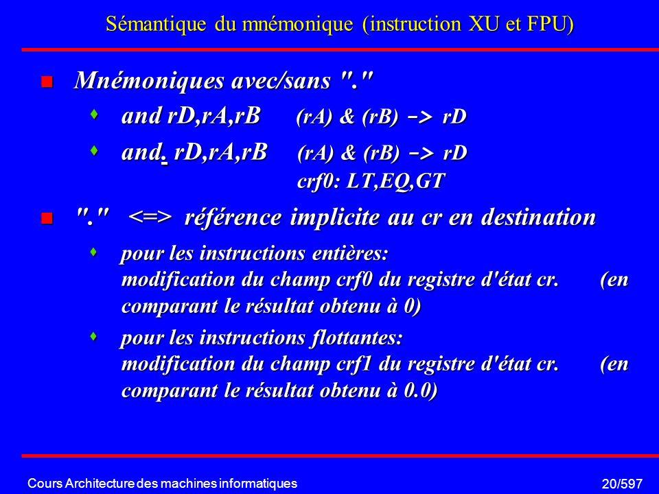 Cours Architecture des machines informatiques 20/597 Sémantique du mnémonique (instruction XU et FPU) Mnémoniques avec/sans . Mnémoniques avec/sans . and rD,rA,rB (rA) & (rB) -> rD and rD,rA,rB (rA) & (rB) -> rD and.