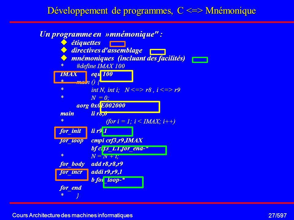 Cours Architecture des machines informatiques 27/597 Développement de programmes, C Mnémonique Un programme en »mnémonique : étiquettes étiquettes directives d assemblage directives d assemblage mnémoniques (incluant des facilités) mnémoniques (incluant des facilités) *#define IMAX 100 IMAXequ 100 *main () { *int N, int i; N r8, i r9 *N = 0; aorg 0x0E002000 mainli r8,0 * (for i = 1; i < IMAX; i++) for_initli r9,1 for_loopcmpi crf3,r9,IMAX bf crf3_LT,for_end-* bf crf3_LT,for_end-* *N = N + i; for_bodyadd r8,r8,r9 for_incraddi r9,r9,1 b for_loop-* b for_loop-*for_end *}